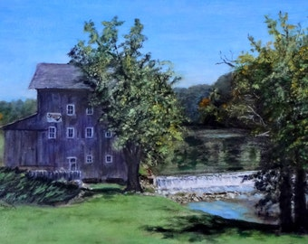 """Fine Art 8 X 10 Print of my Original Oil Painting Landscape Painting """"Stockdale Mill"""""""
