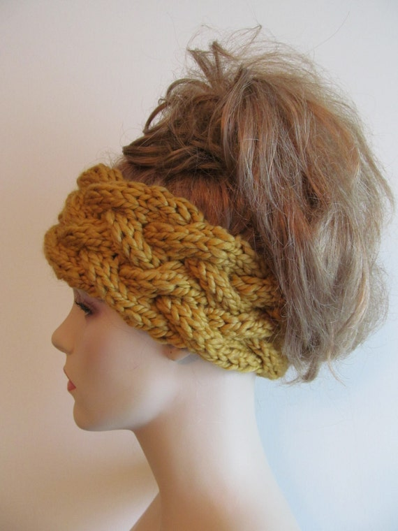 Chunky Knit Ear Warmer Pattern : Instant Download PDF Knitting Pattern Braided Cable Headband Chunky Ear Warme...