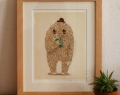 Giclee Print Illustration Art Sweet Character Drinking Cool Juice
