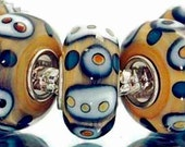 Blue Black and White Pattern on Brown Glass Lampwork Bead for  European Style Charm Bracelet -.925 Silver Core