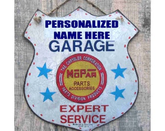 Personalized Garage Mopar Route 66 Emblem 10 inches by 9 inches Handmade and signed