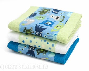 Baby Burp Cloths - Blue and Green Monsters Burp Cloth Set of 3 - READY TO SHIP