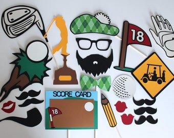 Golf Photo Booth Props - Features Unique Detailed Chalkboard Score Card and More