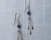 RESERVED for Ryan ~ DOSIO earrings - sterling flat high polished tapered plates with dyed purple agate beads on sterling ear wires