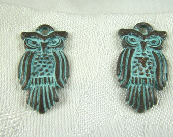Large Bronze color Owl pendant with green patina