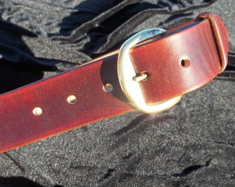 Dark Brown Dyed Leather Belt