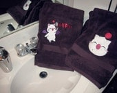 Final Fantasy Moogle Inspired Embroidered Plush Bath Towel in Purple in Two Styles
