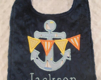 Navy Anchor Bib/anchor bib/nautical/nautical bib/personalized anchor bib/personalized anchor bib/boys nautical bib/minky nautical bib
