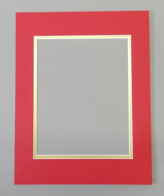 16x20 Bright Red Amp Gold Double Picture Mat With White Core