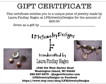 Gift Certificate 25.00 Dollars