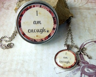 I Am Enough Affirmation Positive Saying Pendant Necklace with Gift Tin for friends mom teens sisters