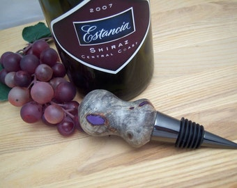 Wine Stopper Walnut Wood Burl with Lavender and Gun Metal