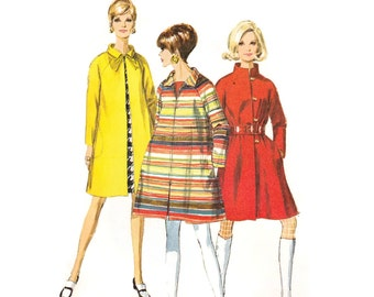 1960s Coat Pattern Simplicity 7442, Mod Swing Coat, Zip Front, Stand Up Collar, Belted, 1967 Vintage Sewing Pattern Bust 32.5 Uncut