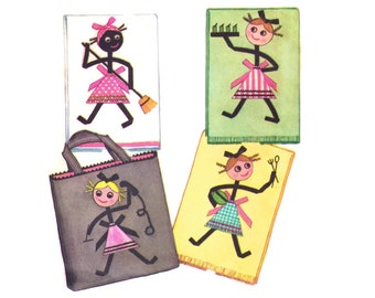 1960s Craft Pattern, McCall's 2394, Bias Tape Stick Figure Applique Tote Bag & Tea Towels, Housework, Vintage Sewing Pattern, Uncut