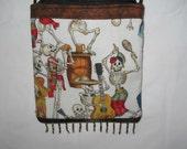 Dia de los Muertos  /Calavera's Sling/Cross Body Bag / Purse Alexander Henry Fabric