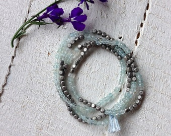 Wrap Bracelet Blue Aquamarine Beaded Wrap Gemstone Bracelet Boho Gemstone Bracelet Necklace