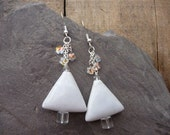 White Tree Earrings, Triangle Jewelry, Ceramic and Crystals
