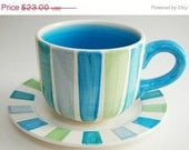Christmas in July SALE-- CLEARANCE--Mod Stripe Soup Mug Set, Soup Cup and Plate, may gifts, gifts for mom