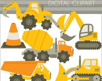 Construction Vehicles Clipart -Personal and Limited Commercial- Bulldozer, Cement Truck, Construction, Dump Truck Clip Art