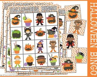 Halloween Bingo Game Printable -Preschool and Kindergarten Bingo- Halloween Party Printable