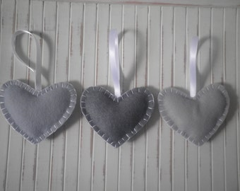 Trio of Handmade Hearts ~ Wedding favours ~ Grey & White Hearts