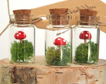 Terrarium Favor Wedding, Mini Woodland Favors with Red Toadstools Thank You Gift Tags - 10