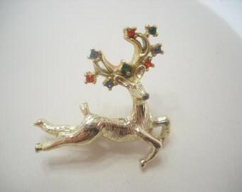 Vintage Colored Rhinestone Reindeer Brooch (5970)