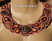 Coral Bubbles Bead Embroidered Necklace