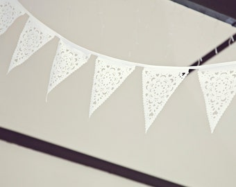 White wedding bunting, 5 metres