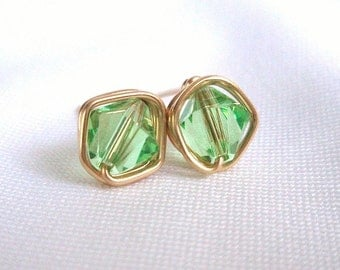 August Birthstone Earrings, Peridot Gold Filled Stud Earings, Wire Wrapped Jewelry, Swarovski Green Gold Earrings, Birthday Gift for Her