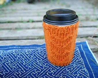 Hand Knit Eco Friendly Cup Cozy - Pumpkin Orange With Heart Pattern - Perfect For Your Valentine
