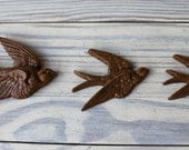 vintage set of three faux wood sparrows birds flying