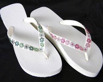 Custom Jewel Flip Flops Daisy Chains w/ +70 Swarovski Crystal shade choices Beach Wedding Flower Girl Brides maid flat or wedge heel Shoe