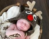 Reindeer Christmas Crochet Earflap Baby Hat