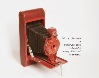 Vintage Red Kodak Brownie camera photograph with quote home decor