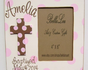 Hand painted personalized girls cross baptism picture frame