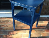 RESERVED FOR YAYA Indigo Blue Painted Side Table in Annie Sloan Chalk Paint