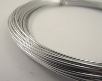 Silver Anodized Aluminum Wire, Silver Anodized Aluminum Wire, Silver Wire, 16 gauge AWG, 18 ga SWG, 1.2 mm wire, 45 foot coil