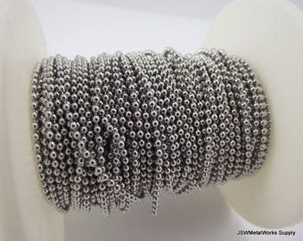 BULK - Ball Chain, 316 Stainless Steel, 1.5mm Ball Chain - Full Spool, 50 ft