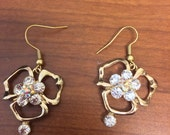 Simple Golden Flower Dangle Earrings