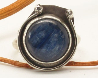 Blue and gray Kyanite with horseshoe detail ring Choose your size