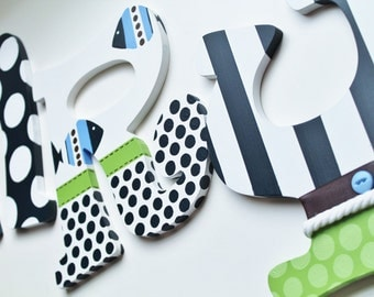 Lime Green, Navy, and White Preppy Nautical Theme Hand Painted Personalized Wooden Letters for Nursery, Bedroom, or Party