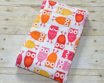 Adorable Owls Baby Burp Cloth in Pinks  and Yellow