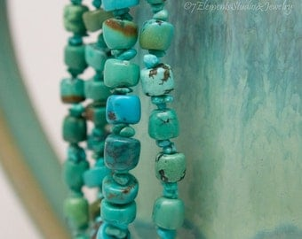 Turquoise Necklace, Adjustable, Double-Strand Turquoise Necklace