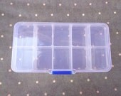 SALE--Small Parts or Beads Display Storage Box Case with 10 Compartments, Clear Plastic Box