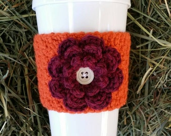 Crocheted Fall Flower Cup Cozy in Pumpkin and Plum