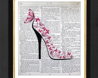 "Shoe Art- High Heel ""Pink Dreams"" ORIGINAL Mixed Media art print on 8x10 Vintage Dictionary page, Dictionary art, Dictionary print SA011"