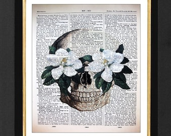 Skeleton Art Print-Painted Magnolia's,Skeleton Skull Pictures, size 8x10, Skeleton Humor, Dictionary page,Dictionary print, Poster A4