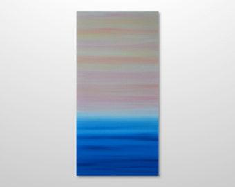 Large 18 x 36 Abstract Seascape Painting - Original Minimalist Modern Canvas Acrylic Wall Art Decor -Blue Ocean, Pink Sunset - Vertical Tall