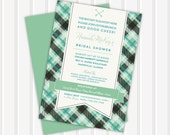 20 - Hip Plaid Flag Bridal Shower Invite | 5x7 | Double Sided